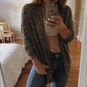 Quarter sleeve grey cardigan sweater